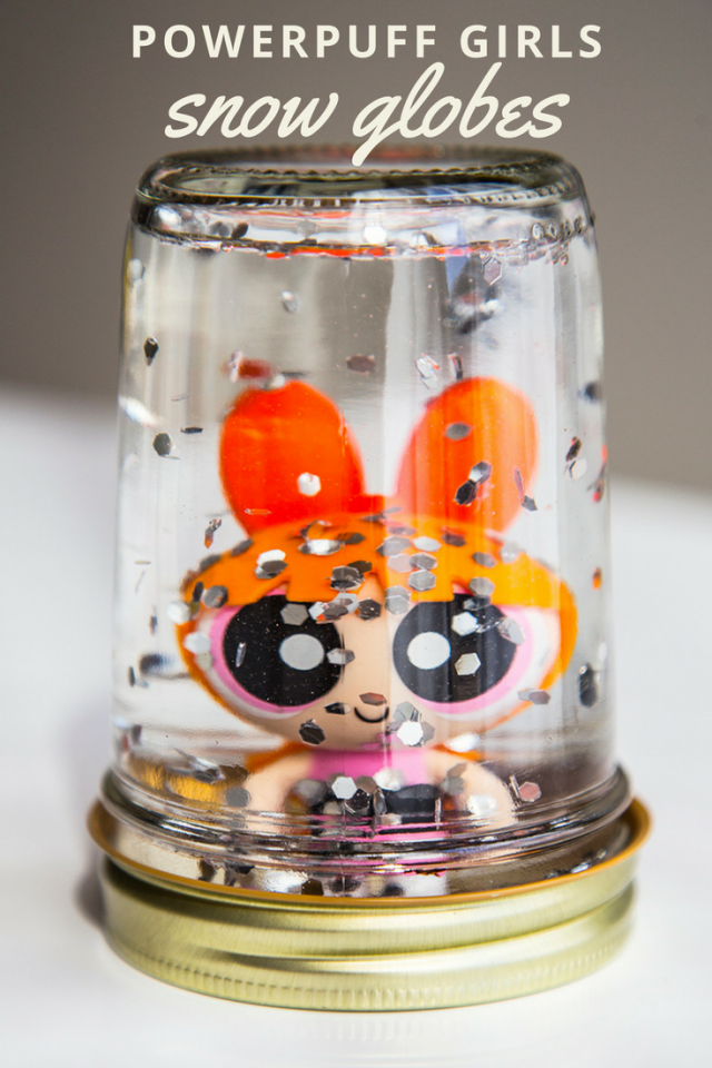 DIY Powerpuff Girls Glitter Snowglobes Craft