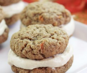 Mini Carrot Whoopie Pie Recipe! The other day I shared a delicious recipe for carrot cake truffles, did you happen to check it out? Well, it got me in a carrot-cake-frenzy-kind-of-mood, so I'm back with another yummy recipe. Carrot cake whoopie pies! So fun to make, and so fun to eat.