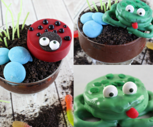 "Ladybug and Frog Earth Day Parfait Recipe - This may sound strange, but Earth Day is one of my favorite holidays. I suppose it's the combination of spring coming and the idea of getting outside, whether that means recycling, planting new flowers, or just enjoying this time of year. To celebrate Earth Day arriving, I have put together some fun ladybug and frog parfaits that you and your children will ""dig."""