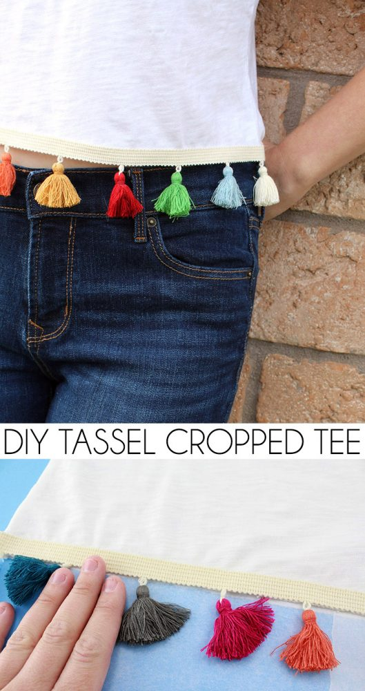 Make a DIY cropped tee that shows as much (or as little) belly as you're comfortable with. Add tassels for a totally on trend look!
