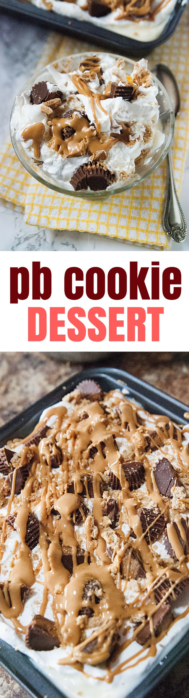 As we head into the warm season (and OH HOW I AM READY FOR SUMMER), I have backyard BBQs and potluck parties on the mind.  The summer always brings some kind of event where I want to bring a little something special, and so today's recipe is an ode to summer parties!   Peanut butter cookie dessert - an easy recipe to put together the night before and it's a cold way to cool off in the heat.