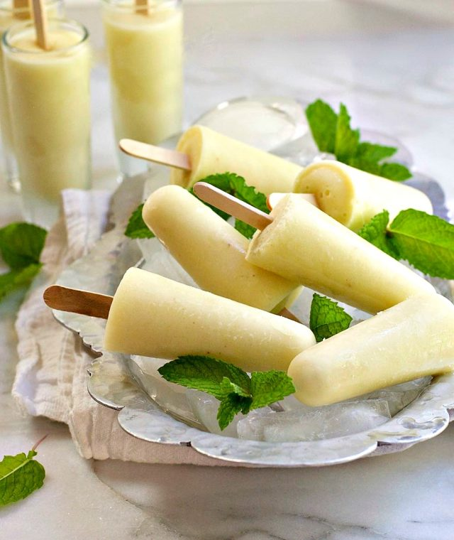 Piña Colada Mini Popsicles Who says that enjoying popsicles needs to end when you grow up? Whoever does say that is full of bologna! Thank goodness there's a lot of people who think that boozy popsicles should be a thing that we do. Often. From margarita popsicles to red wine popsicles, there's something for every responsible adult who would like to enjoy an alcoholic treat on a hot summer day. Here are 10 boozy popsicle recipes for adults.