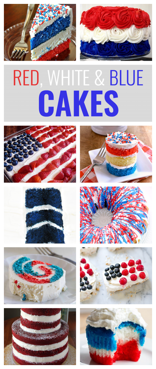 10 Red, White and Blue Cakes You'll Love to Make This Fourth of July Cake is great. Themed cake is even better. Summertime in America is all about patriotism with Independence Day. Celebrating the Fourth of July with a patriotic, red, white & blue cake is the perfect thing. Whether it's a poke cake or a fun, layered cake, your cake with certainly be the hit of the summer barbecue. Here are 10 red, white and blue cakes you'll love to make this summer!