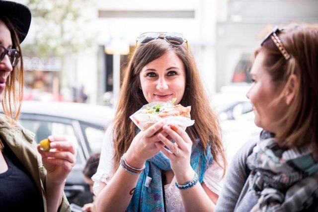 Eating in the streets of Tel Aviv