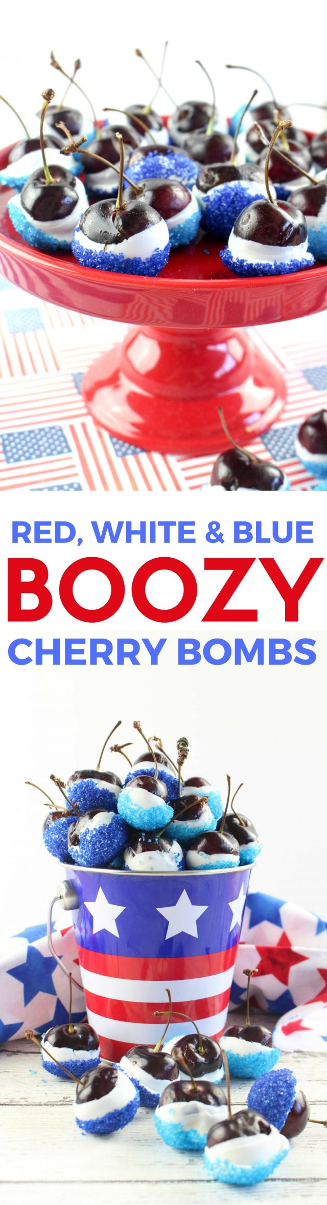 Red, White & Blue Boozy Cherry Bombs Recipe for July 4th! It involves cherries soaked in vodka, friends.