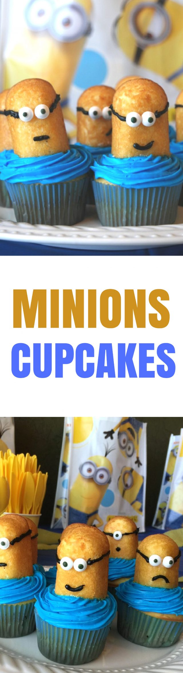 How to Make Despicable Me Minions Movie Party Cupcakes Do your kids love the Minions as much as mine do? Actually, our whole family can't get enough of these silly little yellow dudes, and we're so excited to see Despicable Me on June 30th in theaters! To celebrate the upcoming release of the movie, I decided to share a fun Minions cupcake that I made for a fun Minions party a few years ago. Another cute idea that went over well at the last party was this Minions mason jar dispenser that I added some paper googles on it.