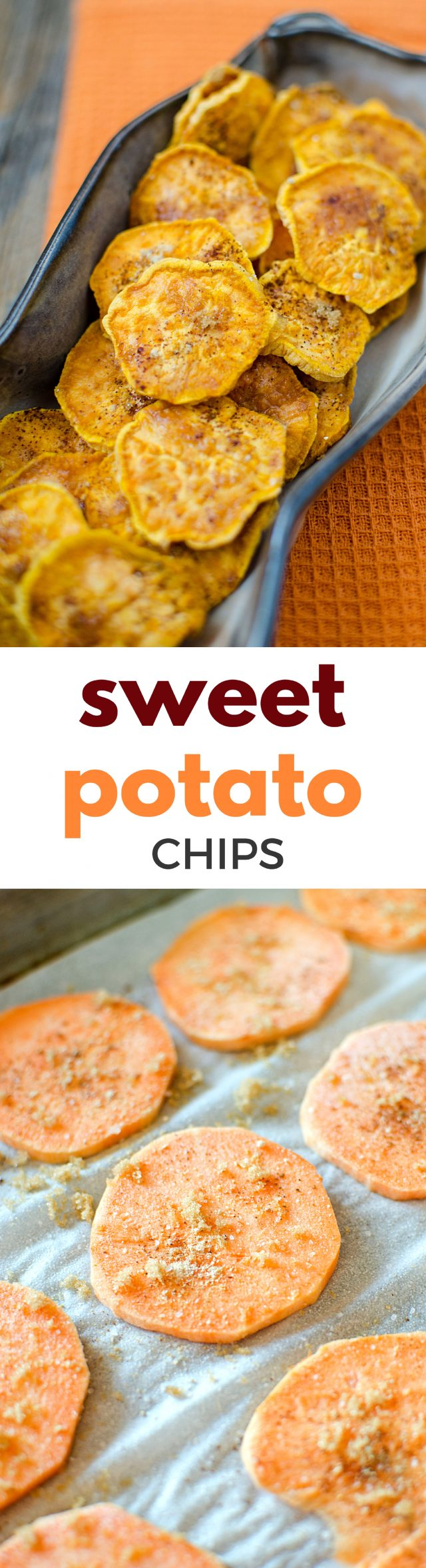 A warm cinnamon brown sugar sweet potato chip recipe that you will have a hard time not gobbling up! Perfect for a snack at home or a party with friends, these sweet potato chips are THE BOMB!