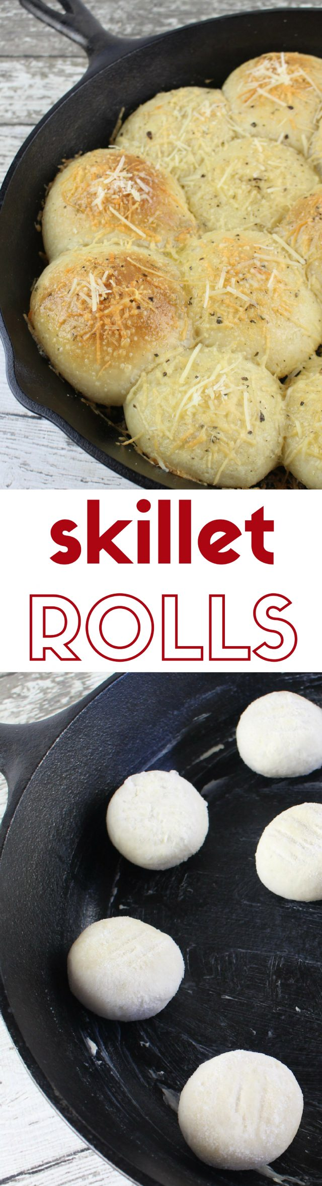 Garlic and Parmesan Skillet Rolls Recipe Super easy garlic parmesan skillet rolls. Oh so yummy that you'll have trouble not eating the whole skillet by yourself.
