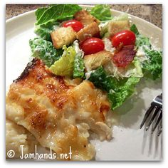 Seafood Lasagna and Caesar Salad