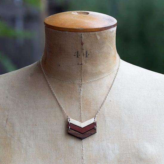wooden chevron pendant necklace jewelry