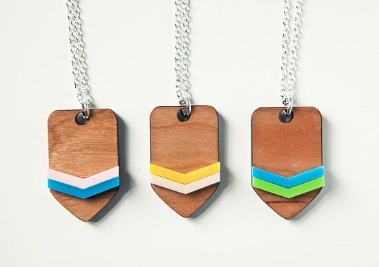cute chevron wooden pendants