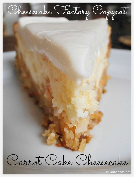 Cheesecake Factory Carrot Cake - When I was on the hunt for a new cheesecake recipe to try, many looked tempting but none quite as good as this Carrot Cake Cheesecake I found at Sifting Focus. Moist and delicious carrot cake is baked with a creamy cheesecake to make the ultimate dessert. It is simple to make and not fussy at all. Many thanks to Sifting Focus for this awesome recipe. Be sure to bookmark this, it would be perfect for Easter, although it is good enough to be made and enjoyed any time of the year.  Enjoy!