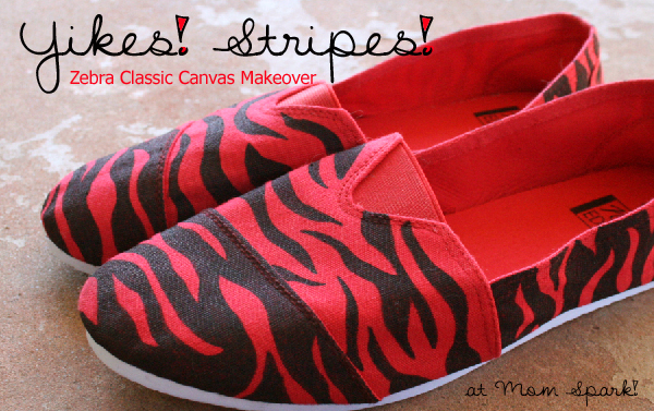 Shoe Makeover: Zebra Striped Classic Canvas Kicks Craft momspark.net