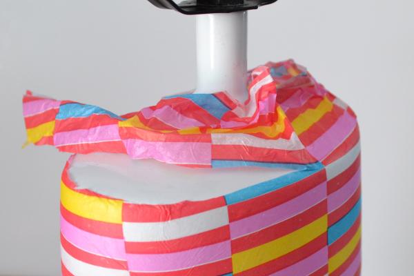 Mod Podge and Gift Wrap Lamp (tutorial) momspark.net