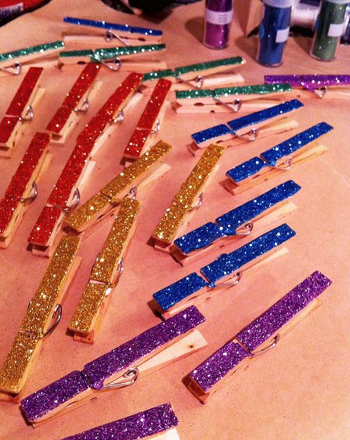 Mod Podge Glitter Clothespins Craft
