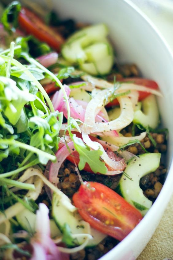 Lentil Salad with Cucumber, Pickled Fennel, Red Onion + Minted Citrus Dill Dressing