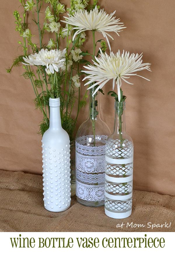Boho wine bottle vase centerpiece diy mom spark mom for Wine bottle flower vase