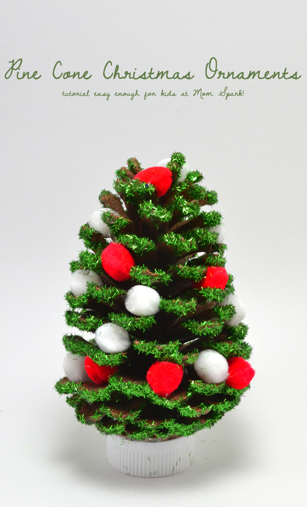Pine cone christmas ornaments mom spark mom blogger for Pine cone christmas ornaments crafts