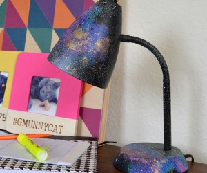 The galaxy trend is still going strong! This DIY painted Galaxy Desk Lamp is easy and inexpensive. A great way to pep up any desk!