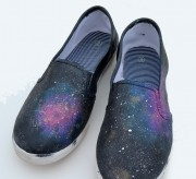 A pair of worn out sneakers can become galaxy kicks with just a bit of fabric paint!