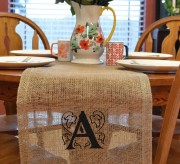 A simple burlap runner becomes something spectacular with a DIY monogram print.