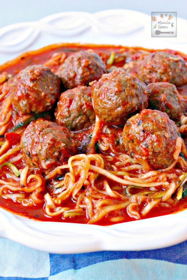 One Pot Meatballs and Zoodles