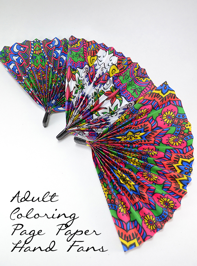 Adult Coloring Pages Paper Hand Fans