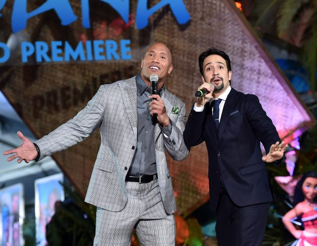 Actor Dwayne Johnson (L) and songwriter Lin-Manuel Miranda (Photo by Alberto E. Rodriguez/Getty Images for Disney)