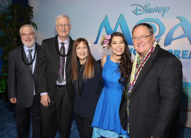 Directors Ron Clements and John Musker, producer Osnat Shurer, actress Auli'i Cravalho, and executive producer John Lasseter (Photo by Jesse Grant/Getty Images for Disney)