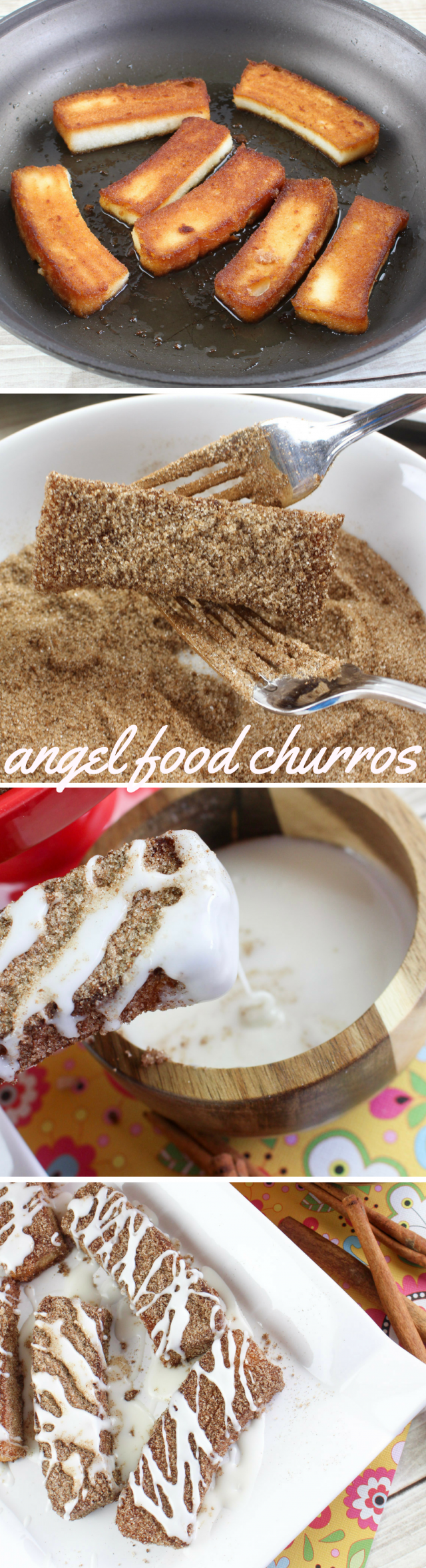 Angel Food Cake Churro Sticks with Tequila Lime Glaze Recipe - Angel food cake sliced, fried in oil, dusted with cinnamon sugar and then dipped into a decadent tequila lime glaze. OMG YES.