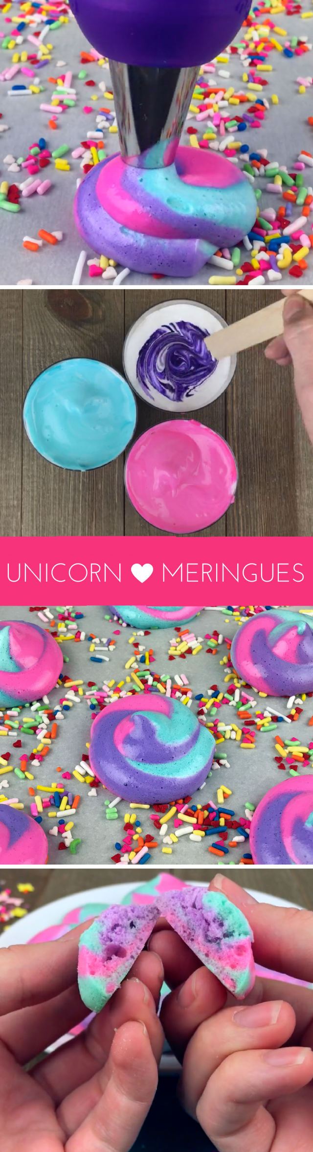 """Rainbow unicorn """"poop"""" meringues. Yup, we're doing this. Soft in the middle and crispy on the outside, these meringues are fun cookie-like snacks that are perfect for your next unicorn or rainbow-themed party. Or just because they're a ton of fun to make and eat."""