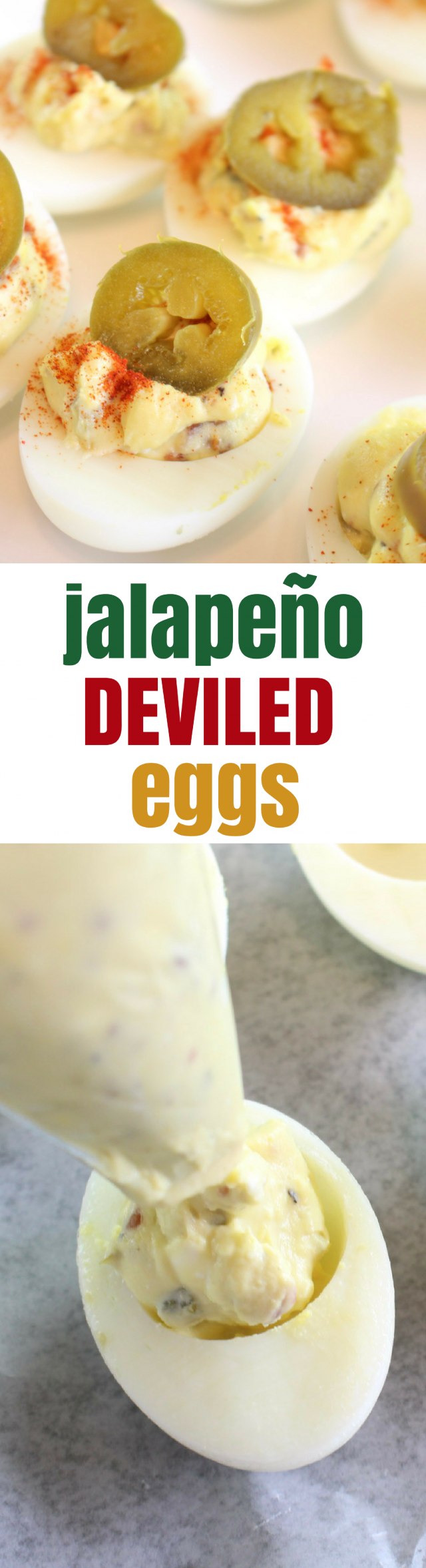 Jalapeño Deviled Eggs Recipe When you think of a potluck dinner, what do you think of? For me, a good potluck HAS to include deviled eggs. It's simply a must-have staple to any family and friend gathering. And while you COULD make deviled eggs the traditional way with mayo, relish, and hard-boiled eggs, why not add a little pizzazz to it? Have your potluck mates raise their eyebrows in approval. Have your potluck mates raise their eyebrows in approval with Jalapeño Deviled Eggs.