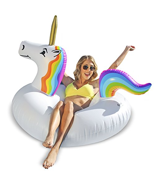 We've already shared a bunch of one-piece swimsuits moms are buying on Amazon right now. Now I'm here to share with you 17 awesome pool floats you need to bring to the pool this summer with this Unicorn Party Tube Float