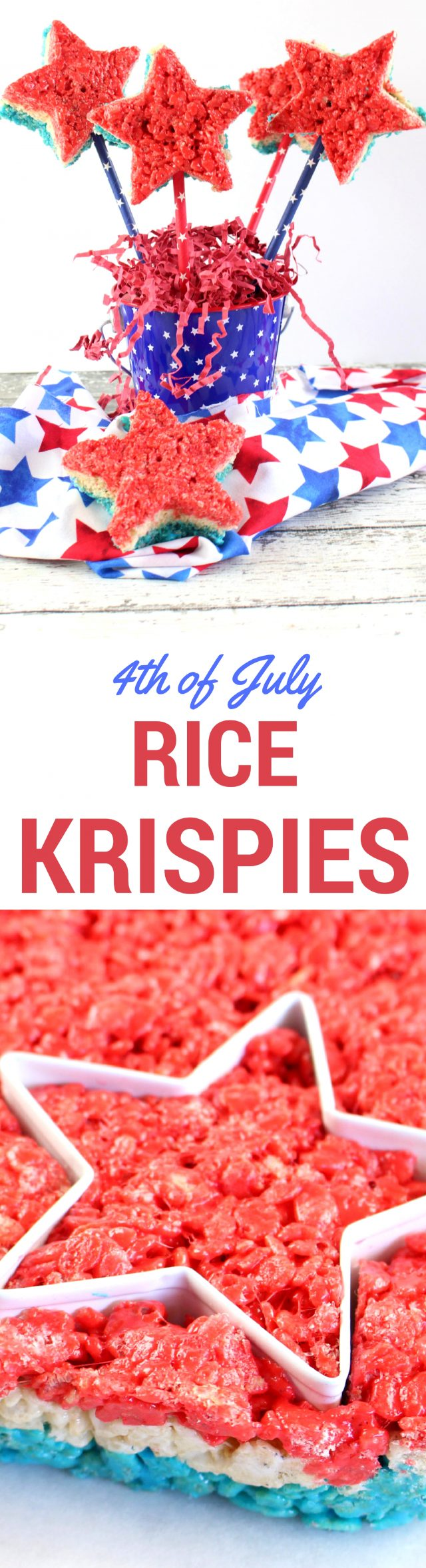 Red, White & Blue Rice Krispie Stars Recipe for July 4th  The big parade, the festive fireworks....the food. Let's get right down to it - it's mostly about the food. Today's special recipe for Independence day includes a family snack staple - Rice Krispie Treats - in red, white and blue layers, then cut out with a star cookie cutter.