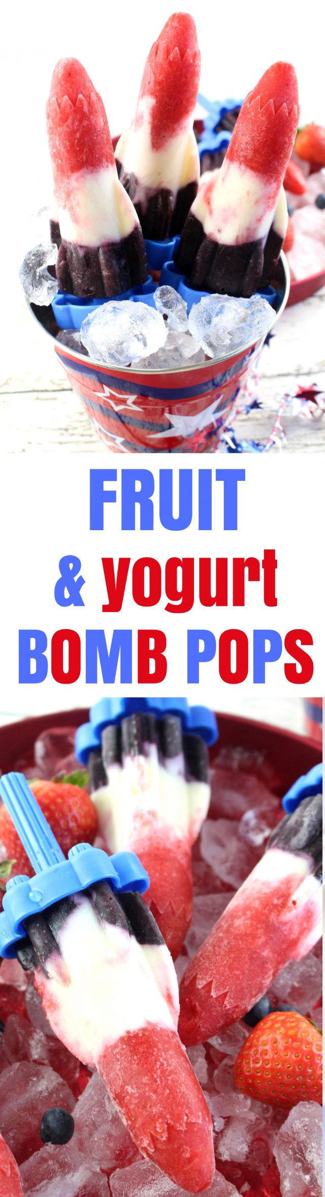 July 4th Red, White & Blue Fruit and Yogurt Bomb Pops Recipe Let's cool off this summer by starting off with these delicious red, white, and blue Patriotic Fruit and Yogurt Bomb Pops that are just perfect for a July 4th popsicle recipe, too! Filled with fruit and yogurt, these bomb pops are also easy on the waistline and OH SO refreshing on a hot day.