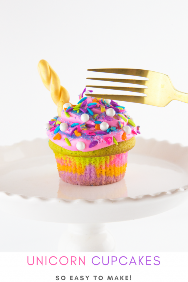 Unicorn Horn Rainbow Cupcake Recipe Mom Spark Mom Blogger