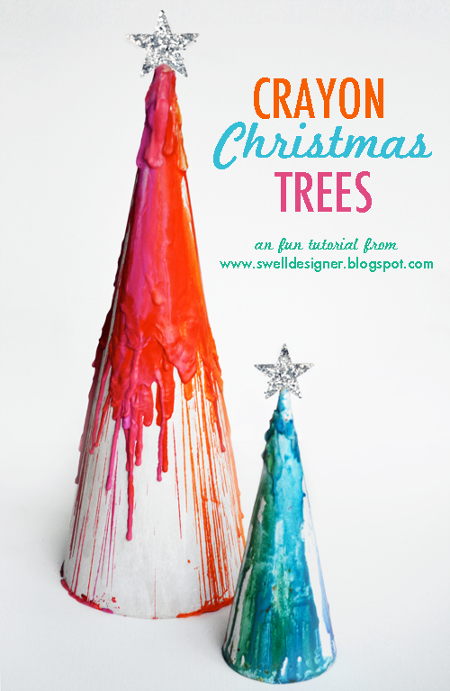 Crayon Drip Paper Maché Christmas Trees! I love using crayons to make art. These melted crayon craft projects are perfect for an afternoon DIY.