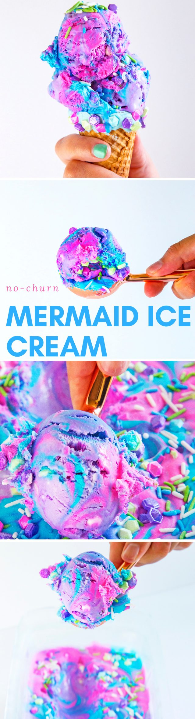 Whether it's in a cone or sundae style, this easy homemade NO-CHURN mermaid ice cream cone recipe is full of neon color, sprinkles, and magic that is just perfect for a birthday party or just because you love mermaids.