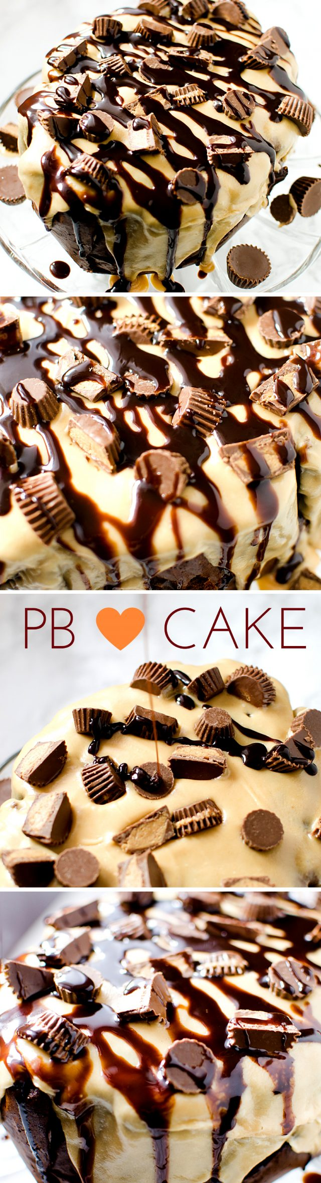 A chocolate and peanut butter flavored cake covered with peanut butter glaze and lots of chopped peanut butter cups.