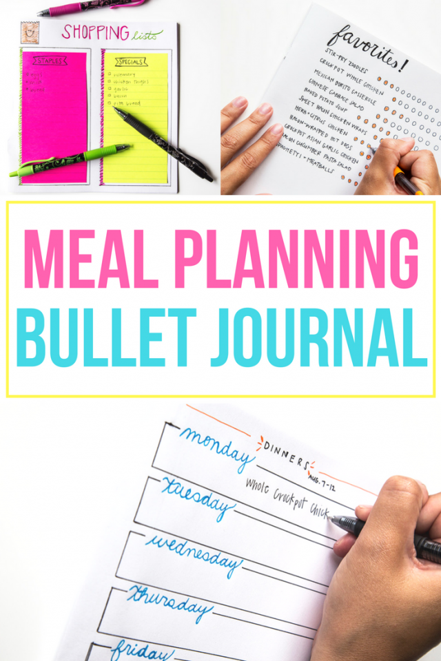 Ideas for how to make easy meal planning bullet journal layouts!