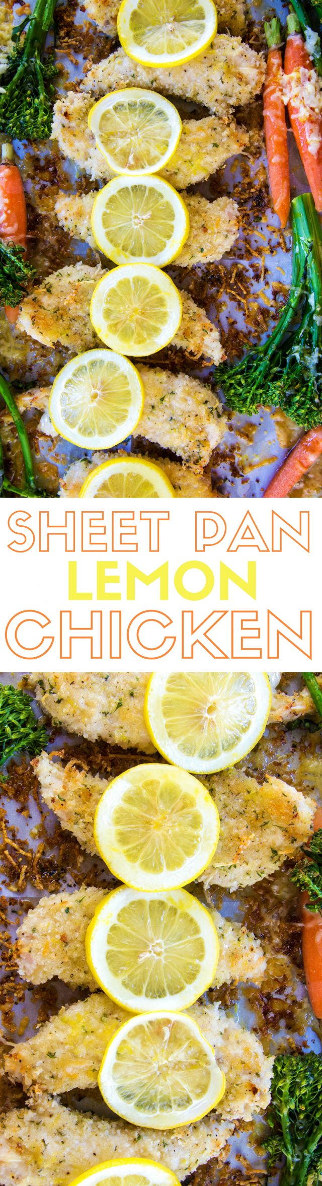 One Sheet Pan Lemon Parmesan Chicken & Vegetables Recipe - Lemon parmesan chicken, covered a light panko crust and roasted vegetables. The best part? It's made on one sheet pan.